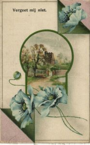 PC CPA WOVEN SILK, SCENE WITH OLD CASTLE AND FLOWERS, SILK POSTCARD (b15067)