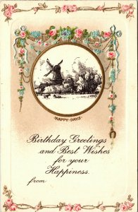 Antique TUCK'S - WINDMILL - VINTAGE - A HAPPY BIRTHDAY ~ Flowers PC