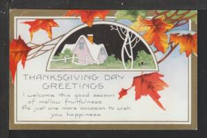 Thanksgiving Day Greetings,House Postcard