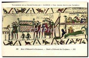 Postcard Old Bayeux Tapestry De La Reine Mathilde Edouard speaks to men of hi...