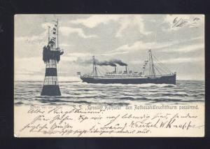 1900 GRUSS VON DER SEE SS GROSSER KURFURST ROTHESANDLEUEHTTHURM OLD POSTCARD