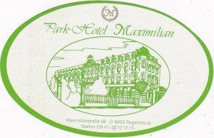 Germany Regensburg Park Hotel Maximilian Vintage Luggage Label sk2632