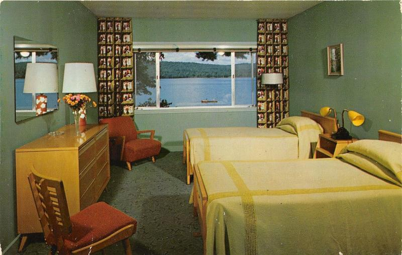 Spofford New Hampshire~Lake Spofford Hotel Bedroom~Canoe on Lake in Distance~50s