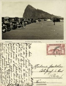 Gibraltar, The Rock from Road to Spain, Car (1934) RPPC Postcard