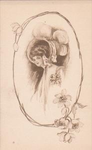 Sketch Portrait of woman wearing bonnet, round frame of flowers, 10-20s