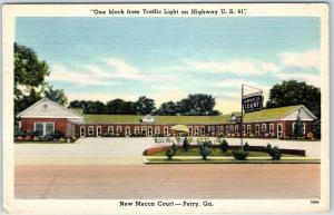 Perry, Georgia Postcard NEW MECCA COURT Motel Hwy 41 Roadside Linen 1949 Cancel