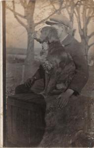 F27/ Animal RPPC Photo Postcard c1910 Dog Boy With Dog Artsy 17