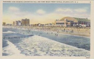 New Jersey Atlantic City Panoramic View Showing Conventional Hall And Some Be...