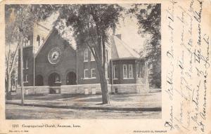Anamosa Iowa~Congregational Church~Round Stained Glass Window 1906 Postcard