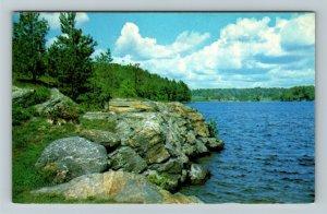 Ontario- Canada, Braceridge, Muskoka, Rugged Coastline, Chrome Postcard