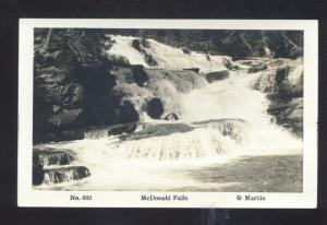 RPPC GLACIER NATIONAL PARK MONTANA MCDONALD FALLS REAL PHOTO POSTCARD