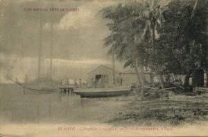 french polynesia, Society Islands, HUAHINE FARE, Copra Store and Schooner (1899)