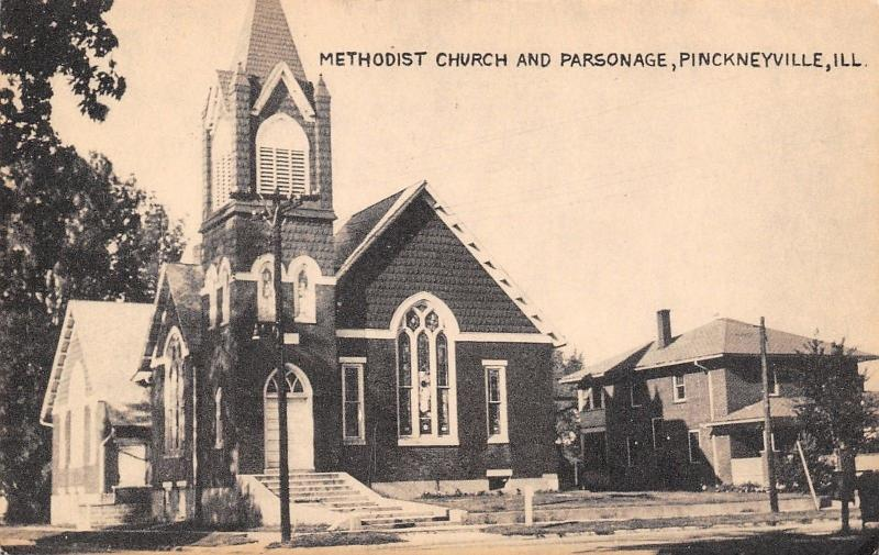 Pinckneyville Illinois~Methodist Church & Parsonage~1930s Sepia Litho Postcard