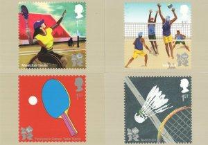 Wheelchair Tennis Badminton Table 4x PHQ Olympics Postcard s