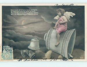 1906 rppc foreign CUTE ANGEL WITH FISHING POLE RIDING ON LARGE BELL HM0919