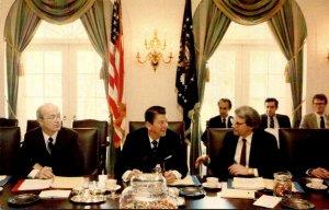 President Reagan Cabinet Meeting Secretary James Watts and David Stockman