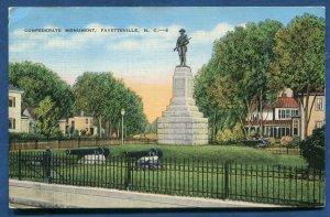 Confederate Monument Fayetteville North Carolina nc old linen postcard