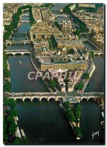 Postcard Modern flying over Paris