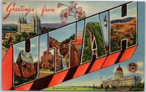 UTAH Large Letter Postcard w/ State Capitol Building Curteich Linen Unused 1940s