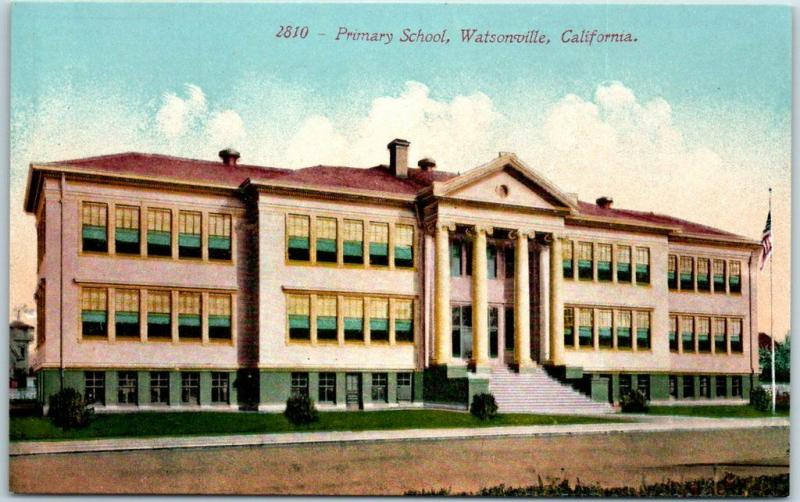 Watsonville, California Postcard PRIMARY SCHOOL Building View Mitchell c1910s
