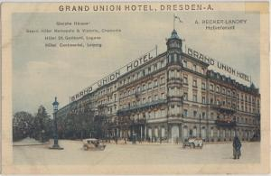 DRESDEN GERMANY - GRAND UNION HOTEL 1910s view - DESTROYED WWII