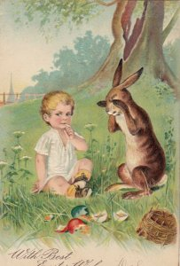 AS: EASTER, PU-1906; Rabbit crying over broken colored eggs, PFB 5064