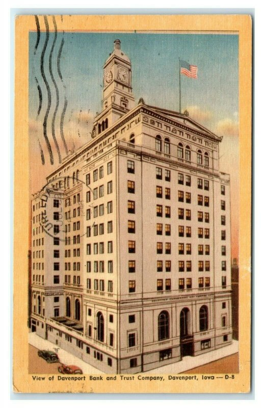 Postcard View of Davenport Bank & Trust Company, Davenport IA Iowa 1948 E36