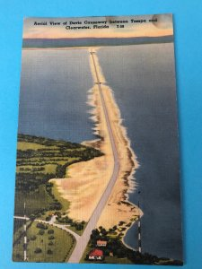 Vintage aerial view of Davis Causeway between Tampa and Clearwater, FL
