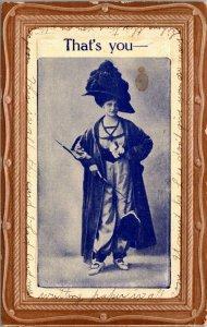 Vintage Post Card - THATS YOU  - VICTORIAN WOMAN Corset - VINTAGE POSTCARD