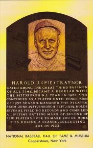 Harold J Pie Traynor National Baseball Hall Of Fame & Museum  Cooperstown New...