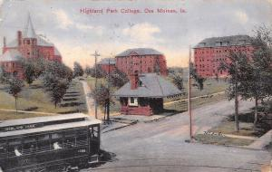 Des Moines Iowa~Highland Park College Campus~Trolley Approches Wait Station~1909