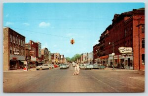 Marshall MI~Boys Cross Michigan Street @ Eagle~Red Phone Booth~1950s Cars~PC