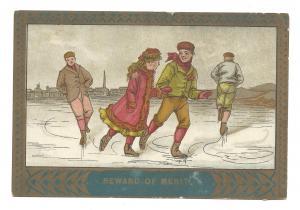 Reward of Merit Vintage Victorian School Award Boys and Girl Ice Skating