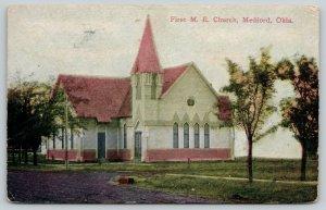 Medford Oklahoma~First Methodist Episcopal ME Church~Tree Stump~Dirt Road~1908
