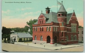 Salina Kansas~Post Office~Hardware Store~Noxall Paint Sign on Roof~1912 PC