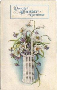Antique Easter Postcard Violets Lilies in a Basket, Vintage Postcard