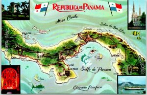 Vintage 1960s REPUBLICA DE PANAMA Map Postcard / Mike Roberts Chrome Unused