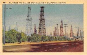 Oil Wells Post Card Oil Wells and Orange Groves California, USA Unused