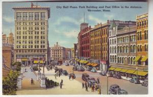 PC22 JL postcard many old cars city hall plaza worchester ma
