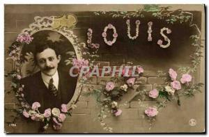 Old Postcard Fancy Man Louis Surname
