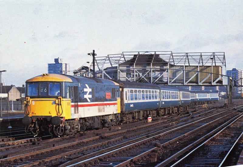 Postcard BR Class 73 Stewarts Lane, approaching Clapham Junction 1985 #T
