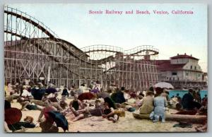Venice CA~Beach Bums Relax on Sand Below Roller Coaster~Umbrellas For Shade~1910
