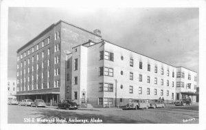 Anchorage Alaska Automobiles 1950s RPPC Robinson Postcard Westward Hotel 13110