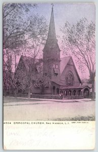 Sag Harbor Long Island NY~Standing by the Episcopal Church As Sun Goes Down~1909