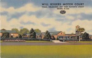 Tulsa Oklahoma view of Will Rogers Motor Court linen antique pc Y15658