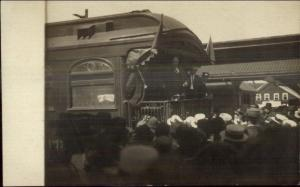 President Taft on RR Train 4th of July Putnam CT c1910 Real Photo Postcard spc