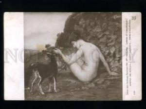134754 Nude Nymph & Goats by MORGAND vintage SALON 1914 PC