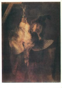 Painting artist Postcard Rembrandt portrait of a man with a chicken