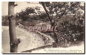 Old Postcard Perros Guirec Beach Trestraou view through the trees of the Mont...