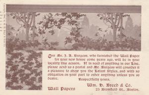 BOSTON , Massachusetts, 1906 ; Wm Breed Wall Paper Company